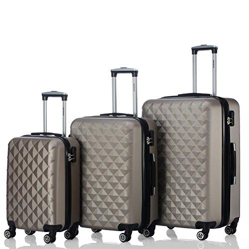 d55c1b99822 BEIBYE Kofferset 4 Zwillingsrollen Hartschale Trolley Koffer Reisekoffer  Reisekofferset Gepäckset in 12 Farben (Champagner) günstig online kaufen  und ...