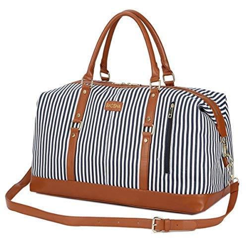 9d6bc3ca63d81 ... Damen Travel Duffel Bag Carry On Bags Segeltuch Handgepäck Weekender  Tasche für Kurze Reise am Wochenend Urlaub mit Gestreift (Blaue Streifen).  € 39 ...