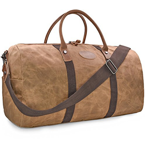e053c955ea6fb ... Wasserdicht Canvas Unisex Handgepäck Weekender Tasche Stoff Duffle Bag  Groß Wochenend Tasche Herren Damen Braun günstig online kaufen und bestellen